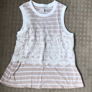 beige and white stripe tank with lace overlay.